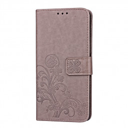 Book Style Four Leaf Clover Pattern Case PU Leather Wallet Flip Cover for Samsung Galaxy S9 Plus - Grey