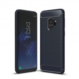 Ultra Slim Carbon Fibre Flexible TPU Shockproof Case Back Cover for Samsung Galaxxy S9 - Blue