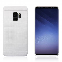 Slim Honeycomb Soft TPU Rubber Shockproof Case Back Cover for Samsung Galaxy S9 - White