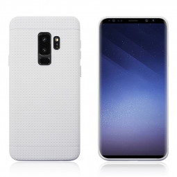 Honeycomb Dot Slim Soft TPU Silicone Shockproof Case Back Cover for Samsung Galaxy S9 Plus - White