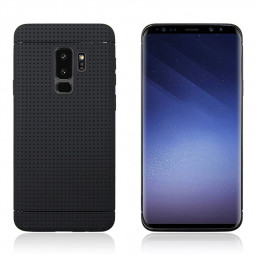 Honeycomb Dot Slim Soft TPU Silicone Shockproof Case Back Cover for Samsung Galaxy S9 Plus - Black