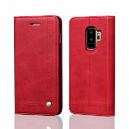 Vintage Rivet Magnetic Stand Wallet PU Leather Case Cover for Samsung Galaxy S9 Plus - Red