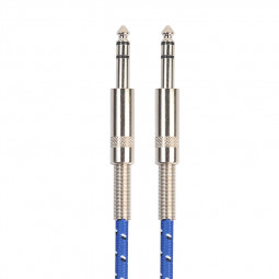 1M 6.35mm Guitar Bass Cable Stereo Woven Male to Male Mono Instrument Audio Jack Wire Cord