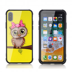 iPhone X/XS Owl Pattern Tempered Glass Back TPU Bumper Shockproof Case Cover - Yellow