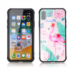 Flamingo Tempered Glass Case Soft TPU Bumper Protective Back Cover for iPhone X/XS - Pattern 1