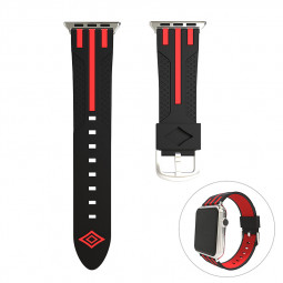 38mm Replacement Watch Band Breathable Silicone Wristband Strap for Apple Watch - Black+Red