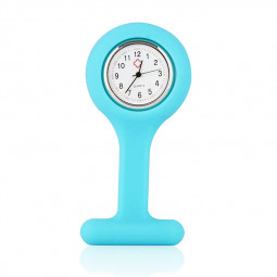 Medical Nurse Watch Silicone Brooch Tunic FOB Clip Pin Mini Watch Timer - Blue