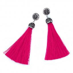 Women's Bohemia Silky Tassel Earrings Long Drop Dangle Earring Jewelry - Rose Red