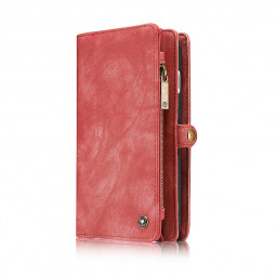 Magnetic Buttons Multi Genuine Leather Case Large Wallet Cover with Card Slots for iPhone 7/8 Plus - Red
