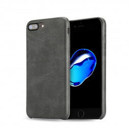 Ultra-slim Vintage PU Leather Shockproof Protective Case Back Cover for iPhone 7/8 Plus - Black