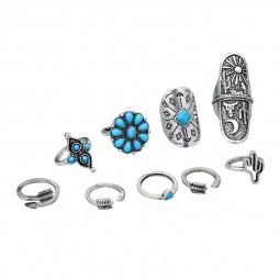 9Pcs/Set Vintage Blue Stone Bohemian Finger Rings Ring Set Women Gift