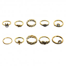 10PCs/Set Vintage Flower Moon Elephant Knuckle Joint Rings Set for Women - Golden