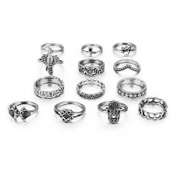 13PCS/Set Vintage Carving Engraving Totem Decorative Knuckle Rings Set - Silver