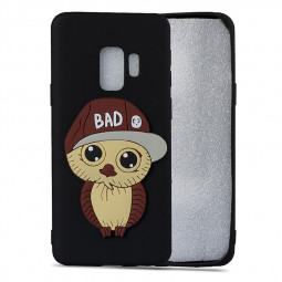Samsung S9 3D Cartoon Owl TPU Case Soft Flexible Rubber Shockproof Back Cover - Black