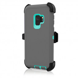 Shockproof Dirtproof Hybrid Hard Phone Cover TPU Rugged Armor Case for Samsung S9 - Grey + Blue