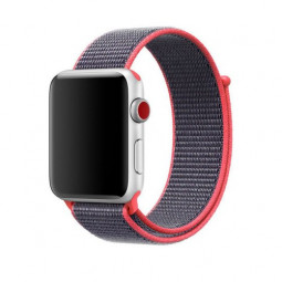 42mm Sports Nylon Wrist Band Watchband Strap Bracelet for Apple Watch - Pink + Grey