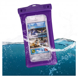 6 Inches Universal Inflatable Floating Waterproof Pouch Phone Dry Bag Case - Purple