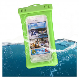 6 Inches Universal Inflatable Floating Waterproof Pouch Phone Dry Bag Case - Green