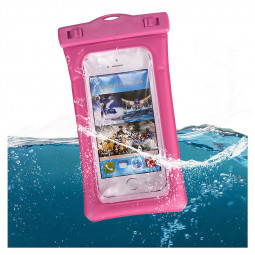 6 Inches Universal Inflatable Floating Waterproof Pouch Phone Dry Bag Case - Rose Red