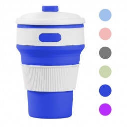Collapsible Silicone Telescopic Water Bottle Foldable Portable Leakproof Cup - Blue