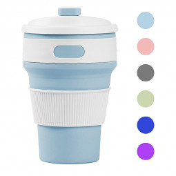 Collapsible Silicone Telescopic Water Bottle Foldable Portable Leakproof Cup - Light Blue