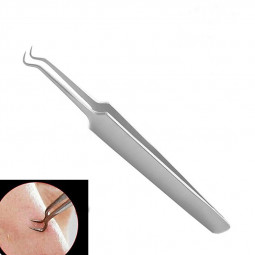 Acne Blackhead Tweezer Remover Clip Comedone Blemish Pimple Extractor Nipper Face Cleaner Tool - Bend