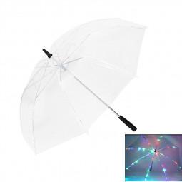 7 Colors Changing LED Luminous Transparent Umbrella with Flashlight Function - Transparent