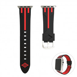 42mm Apple Watch Soft Silicone Watchband Breathable Sports Replacement Watch Wrist Strap - Black+Red