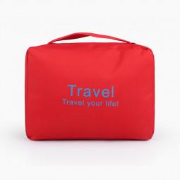 Travel Hanging Waterproof Toiletry Bag Portable Cosmetic Makeup Bathroom Organizer - Red