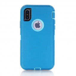 Heavy Duty Armor Case Dustproof ShockProof Phone Cover for iPhone X/XS - Light Blue