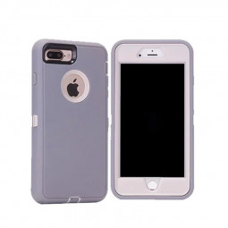Shockproof Rugged Tough Protector Durable Protection Armor Shell for iPhone 7/8 Plus - Light Grey