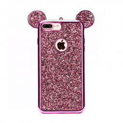 iPhone 7/8 Plus Bling Glitter Case Mickey Mouse Ears Soft TPU Case Back Cover - Rose Red