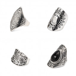 4PCS/Set Vintage Bohemian Black Gemstone Carved Plated Finger Rings