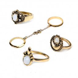 5PCS/Set Retro Boho Knuckle Chain Mittens Rings Beach Flower Tibetan Moon Sun Midi Ring Set - Golden