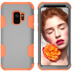 Samsung S9 Hard PC Cover Case with Shock Absorption Bumper Hybird Phone Case - Grey+Orange