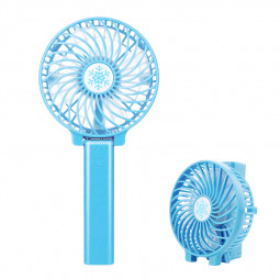 Handheld Mini USB Fan Built-in Battery Foldable Portable Desktop Table Cooler - Blue