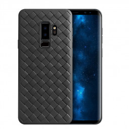 Shockproof Slim Woven Textured TPU Rubber Case Back Cover for Samsung S9 Plus - Black