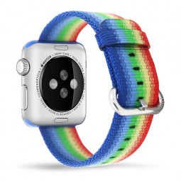 38mm Nylon Woven Braided Watch Band Soft Sports Loop Bracelet Strap for Apple Watch - Colorful