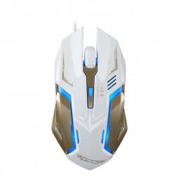1600 DPI Mute Gaming Mouse USB Wired Mouse with 7 Auto Changing Color - White