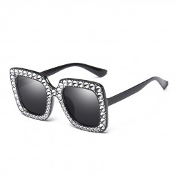 Women's Oversized Square Bling Rhinestone Sunglasses Outdoor Fashion Glasses - Black + Grey