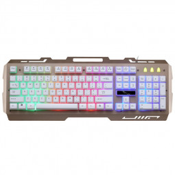 G700 LED Rainbow Color Backlight Waterproof Gaming Game USB Wired Keyboard - Gold