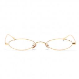 Unisex Retro Vintage Small Oval Sunglasses Metal Frame Shades Eyewear - Gold + White