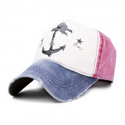 Vintage Anchor Printing Baseball Cap Unisex Adjustable Outdoor Sports Hats - Navy Blue+Wine Red