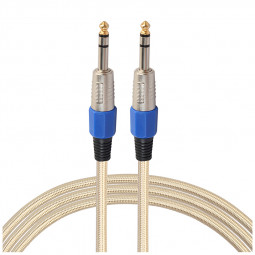 6.35mm Male To Male Braided Audio Aux Cable Stereo Guitar Adapter Connector - 0.3M