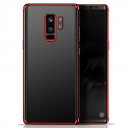 Slim Crystal Clear Plating TPU Soft Silicone Protective Case for Samsung S9 Plus - Red