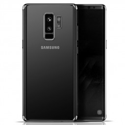Slim Crystal Clear Plating TPU Soft Silicone Protective Case for Samsung S9 Plus - Black