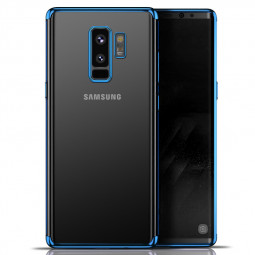 Slim Crystal Clear Plating TPU Soft Silicone Protective Case for Samsung S9 Plus - Blue
