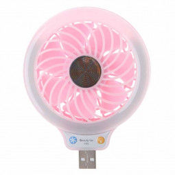 Mini USB Fan Portable LED Light Quiet Operation Desktop Table Cooler - Pink