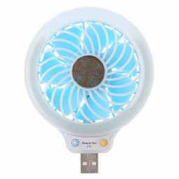 Mini USB Fan Portable LED Light Quiet Operation Desktop Table Cooler - Blue
