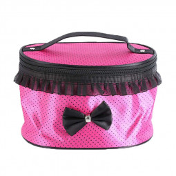 Portable Travel Toiletry Makeup Bag Waterproof Lace Dot Cosmetic Handbag Case - Rose Red and Small Black Dots